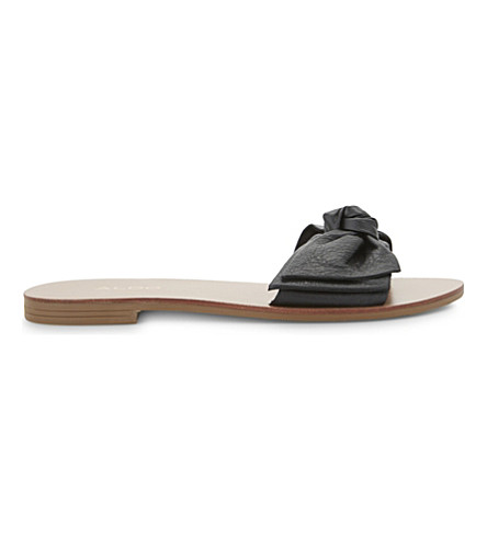 ALDO Prettie leather sliders (Black+leather