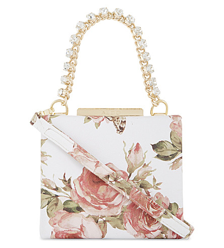 ALDO Unerrade faux-leather box shoulder bag (White+print