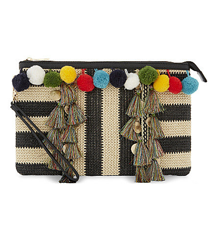 ALDO Raeford tassel clutch (Black+/+white