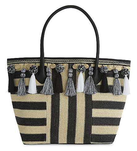 ALDO Taurano striped shopper bag (Black+/+white