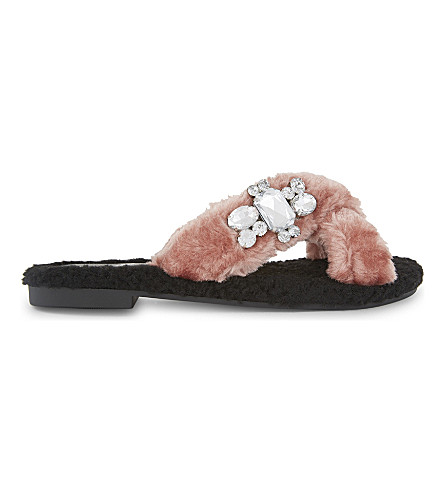 ALDO Mukki faux-fur jewel embellished sandals (Light+pink