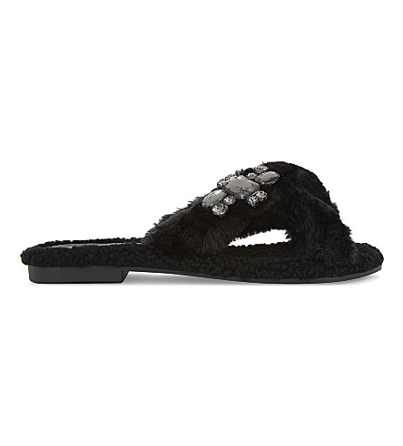 ALDO Mukki faux-fur jewel embellished sandals (Black