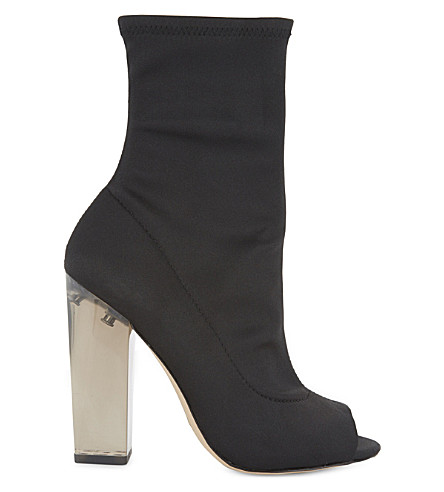 ALDO Jupiter peep toe satin sock boots (Black+satin