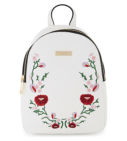 ALDO Triria embroidered floral backpack (White