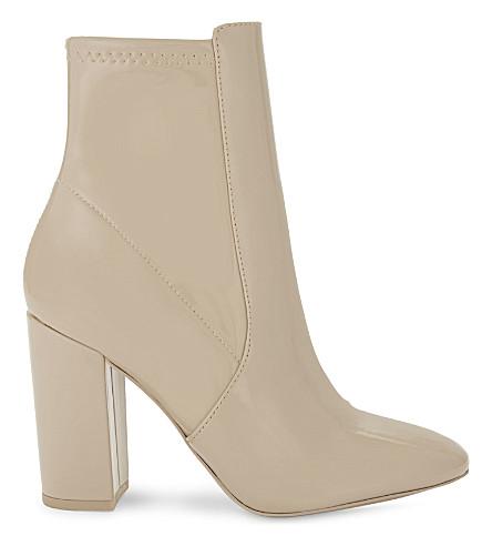 ALDO Aurella patent faux-leather ankle boots (Bone