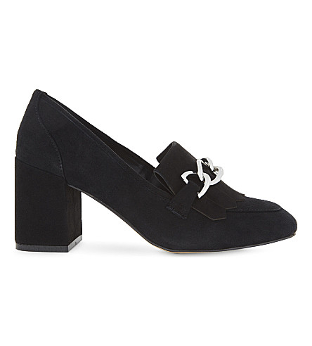 ALDO Alenne suede heeled loafers (Black+suede
