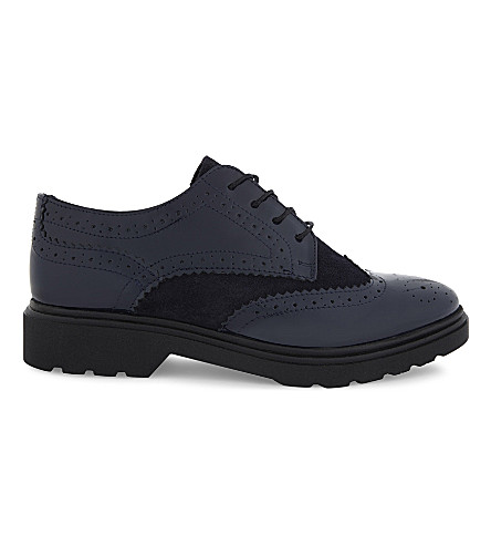 ALDO Kedelani patent-leather brogues (Navy