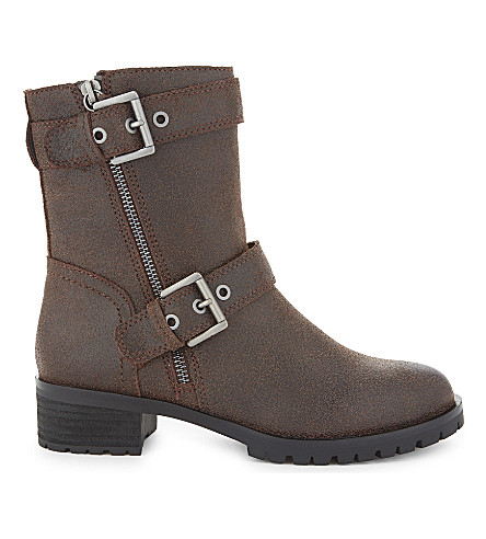 ALDO Bralen leather biker boots (Dark+brown