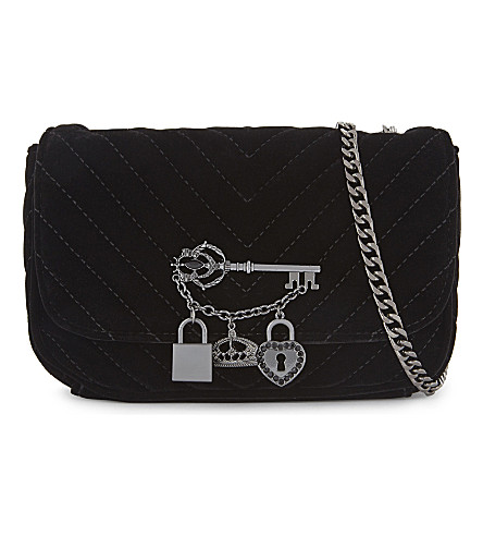 ALDO Griclya quilted velvet cross-body bag (Black+synthetic