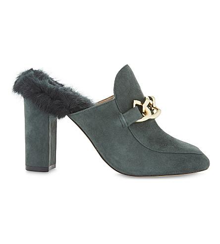 ALDO Umarella faux-fur heeled mules (Forest+green