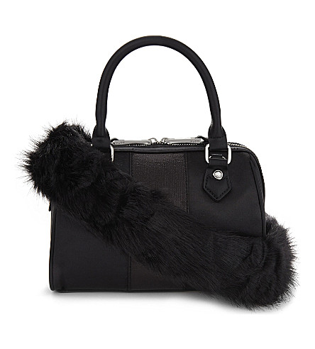 ALDO Montegabbione faux-fur shoulder bag (Black+satin