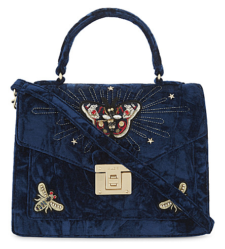 ALDO Durosty velvet shoulder bag (Navy