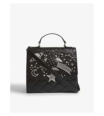ALDO Rurwen glitter shoulder bag (Black+leather