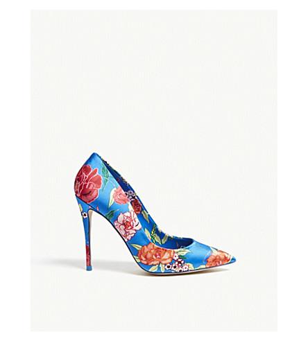 ALDO Stessyf floral-print satin court shoes (Bluette