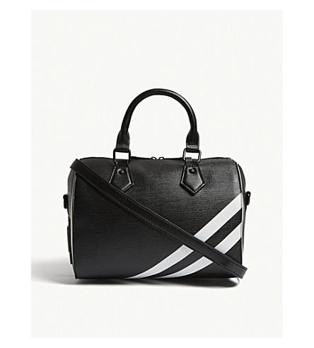 ALDO Adiadda striped faux-leather tote (Black+/+white
