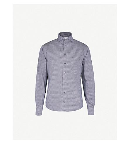 ETON Spot pattern slim-fit cotton shirt (Blue