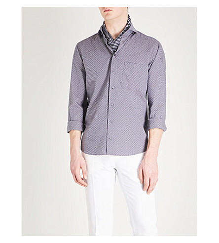 ETON Spot pattern slim-fit cotton shirt (Blue