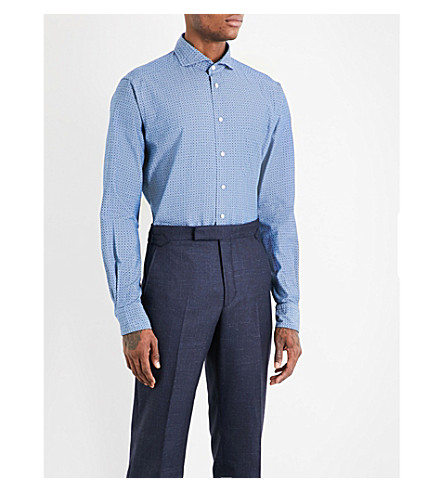 ETON Micro-pattern slim-fit cotton shirt (Blue