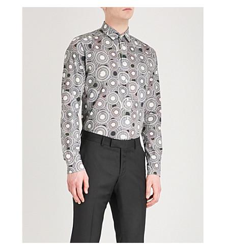 ETON Circle-pattern slim-fit cotton shirt (Black