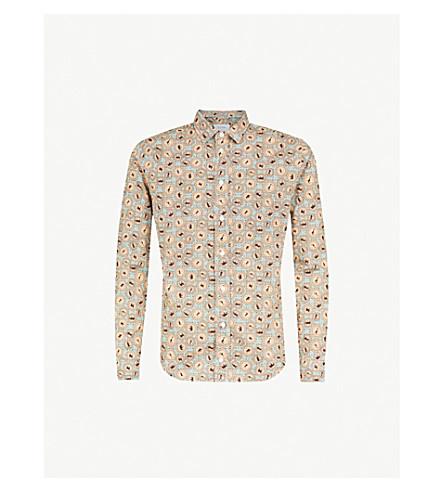 ETON Circle-pattern slim-fit cotton shirt (Green