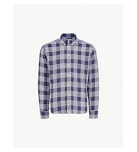 ETON Checked slim-fit linen shirt (Blue