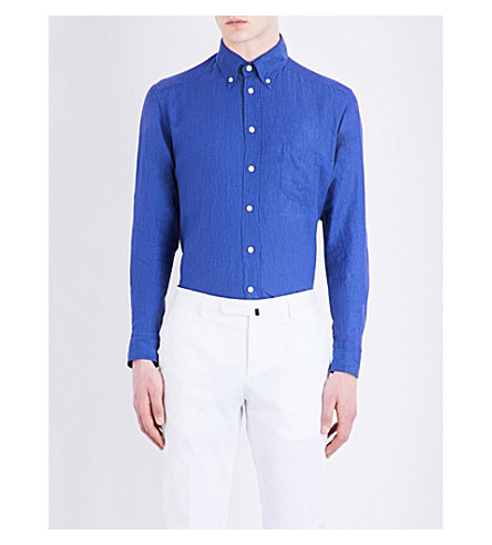ETON Slim-fit linen shirt (Blue