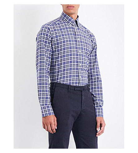 ETON Table-cloth check slim-fit brushed-cotton shirt (Blue