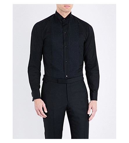 ETON Slim-fit cotton-blend shirt (Black