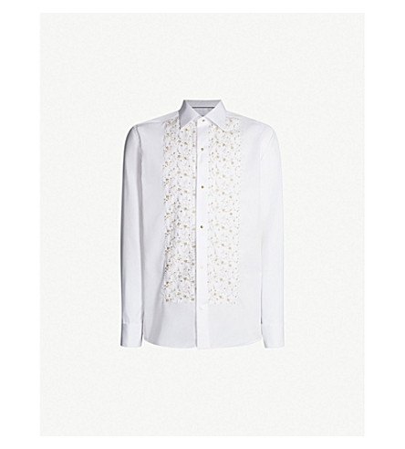 ETON Floral-embroidered slim-fit cotton-blend evening shirt (White