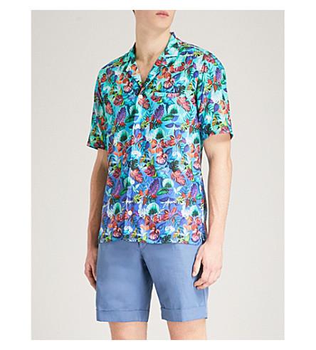 ETON Tropical floral-print slim-fit cotton shirt (Blue