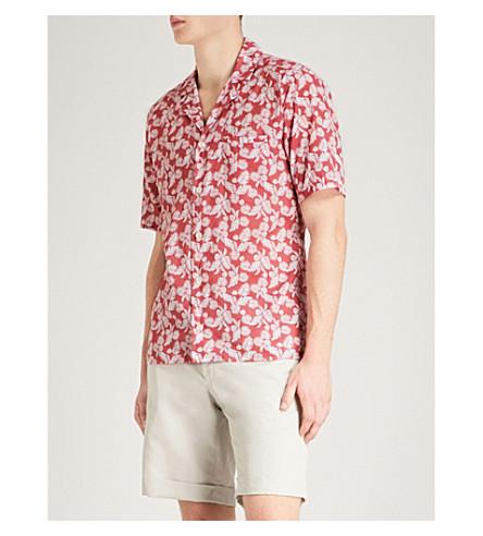 ETON Leaf and polka dot-print slim-fit cotton shirt (Pink/red