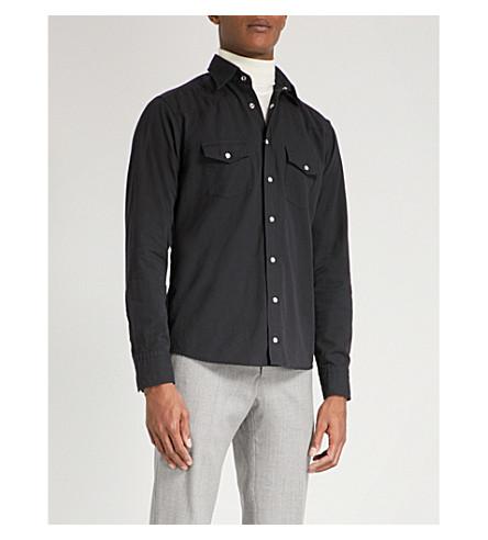 ETON Slim-fit cotton-twill shirt (Black