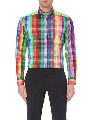 ETON Checked-print cotton slim-fit shirt