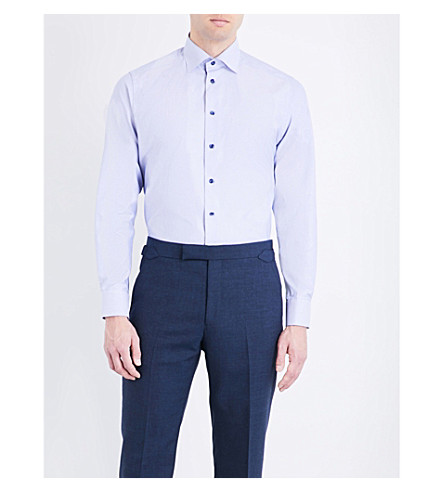 ETON Geometric-pattern contemporary-fit cotton shirt (Blue