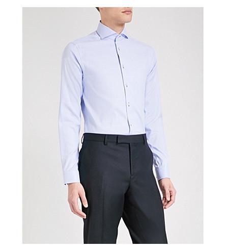 ETON Geo-pattern super-slim cotton shirt (Blue