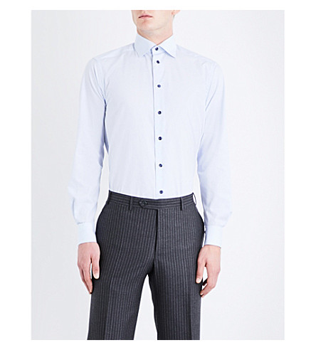 ETON Grid-patterned contemporary-fit cotton-poplin shirt (Blue