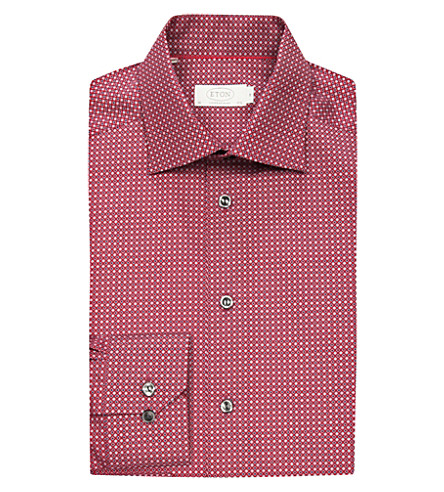 ETON Long-sleeved cotton shirt (Burgundy