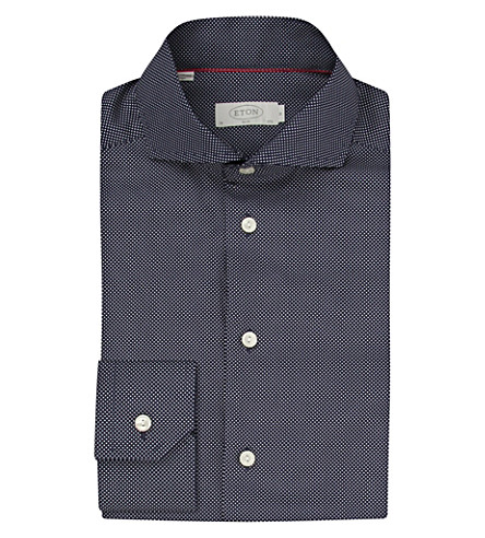 ETON Slim fit micro-dots cotton shirt (Navy