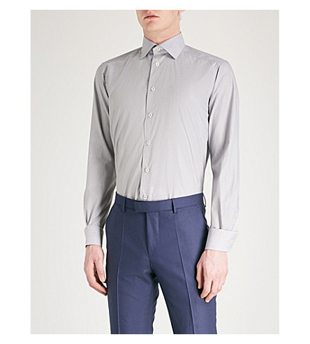 ETON Striped contemporary-fit cotton shirt (Black