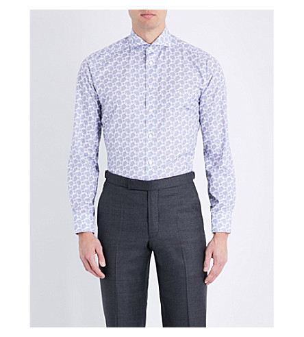 ETON Paisley slim-fit cotton shirt (Blue