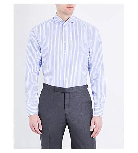 ETON Slim-fit striped cotton shirt (Blue