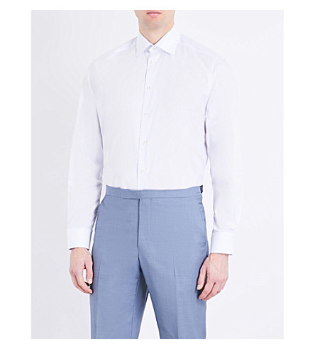 ETON Pinstriped contemporary-fit cotton-poplin shirt (Blue