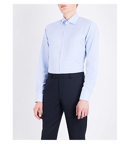 ETON 当代适合威尔士王子格纹棉衬衫 (蓝色