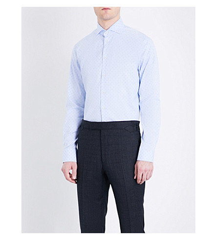 ETON Geometric-patterned slim-fit cotton shirt (Blue