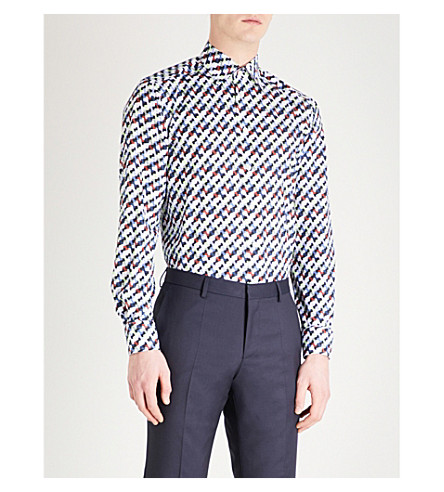 ETON Geometric pattern slim-fit cotton shirt (Blue