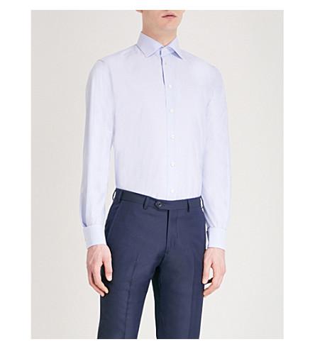 ETON Fine-dot contemporary-fit cotton shirt (Blue