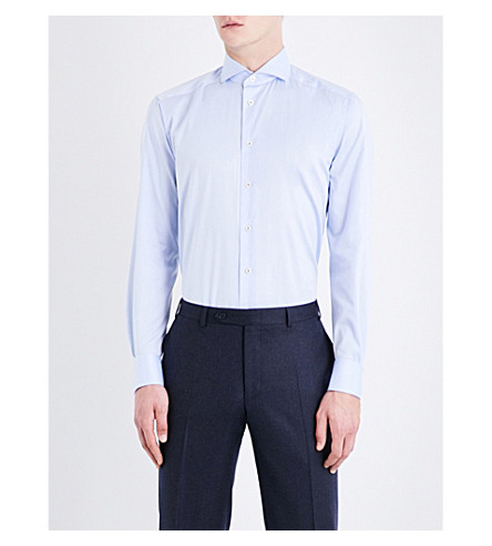 ETON Contemporary-fit cotton-twill shirt (Blue