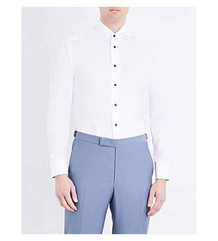 ETON Contrast-button slim-fit cotton shirt (White