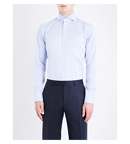 ETON End-on-end-patterned slim-fit cotton shirt (Blue