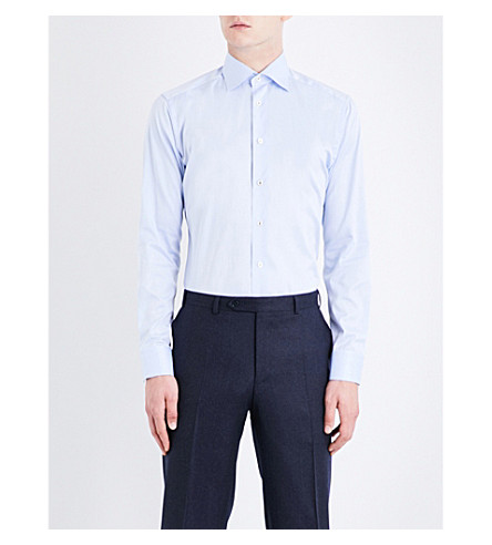 ETON Slim-fit cotton-twill shirt (Blue